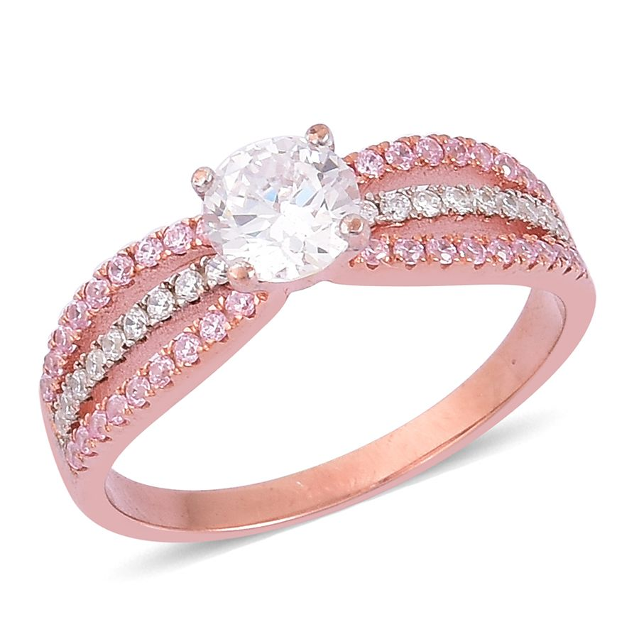 Simulated White and Pink Diamond 14K Rose Gold Over .925 Sterling ...